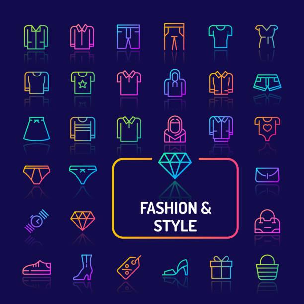 mode-skala-icon-set (eps 10) - neonhosen stock-grafiken, -clipart, -cartoons und -symbole