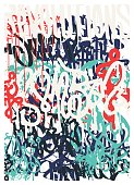 Vector fashion graffiti font. Revolutions Hand drawing retro style font texture, design elements in black, white, blue, red