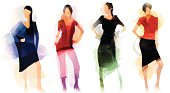 Image shows a group of fashion models, without opening shapes and gradients; big jpeg (350DPI); digital drawing with free wild style; fantasy painting; better for white backgrounds