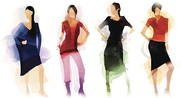 fashion group - womens fashion stock illustrations, clip art, cartoons, & icons