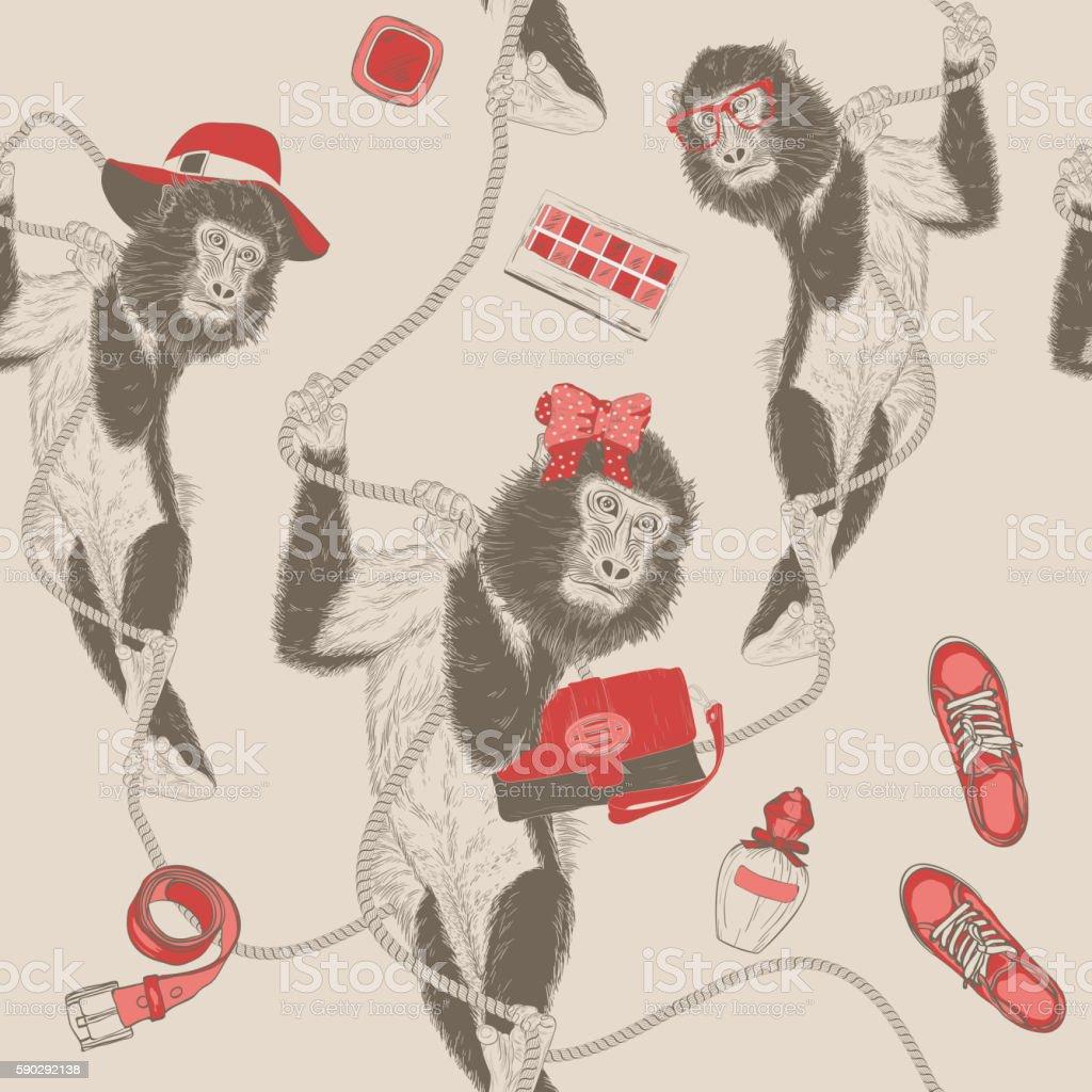 Fashion Hand Drawing seamless pattern with Monkey royaltyfri fashion hand drawing seamless pattern with monkey-vektorgrafik och fler bilder på abstrakt