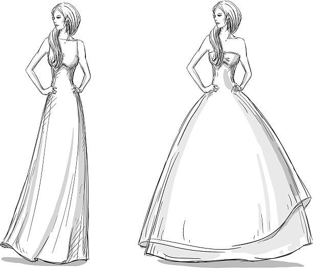 mode hand gezeichnete illustrationen. vektor-skizze. langes kleid. braut. - langhaarspitzen stock-grafiken, -clipart, -cartoons und -symbole
