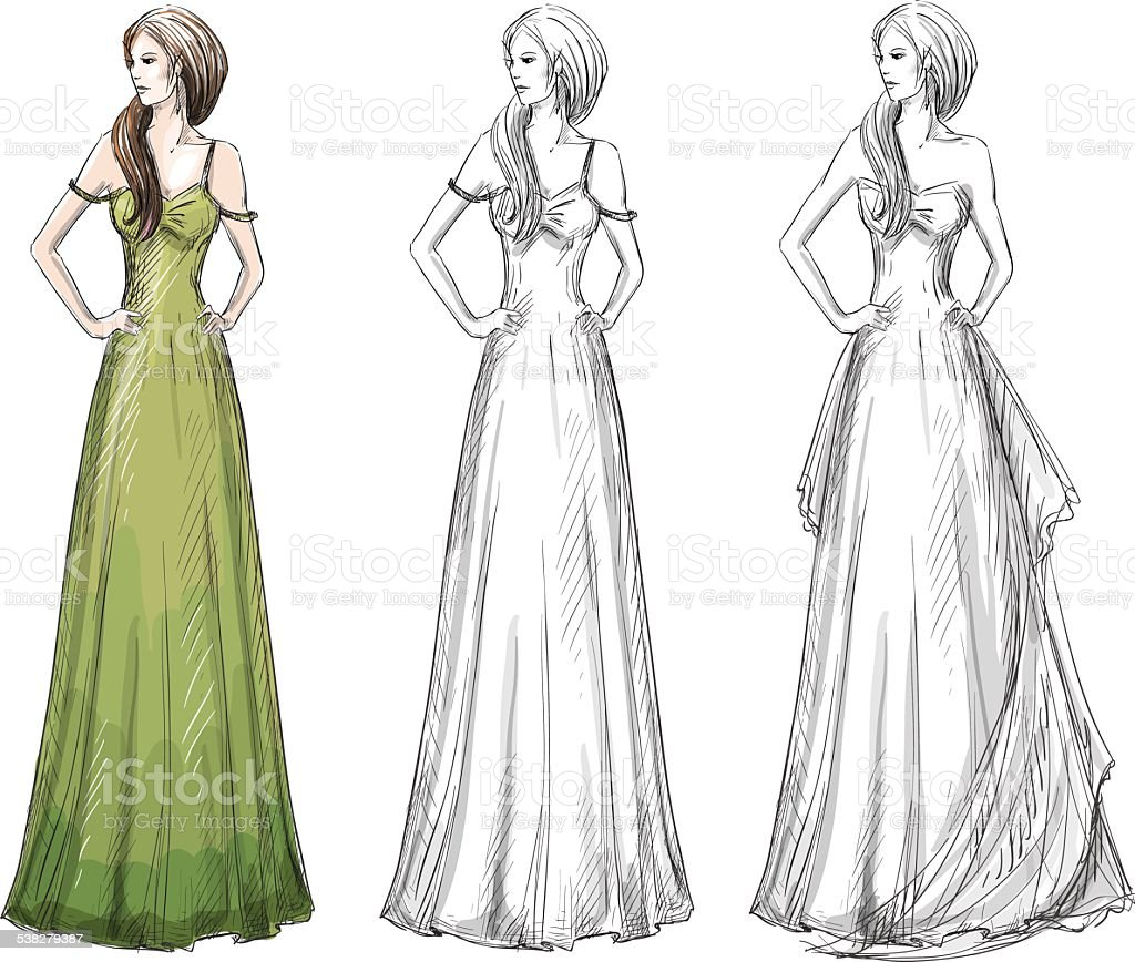 fashion hand drawn illustration vector sketch long dress