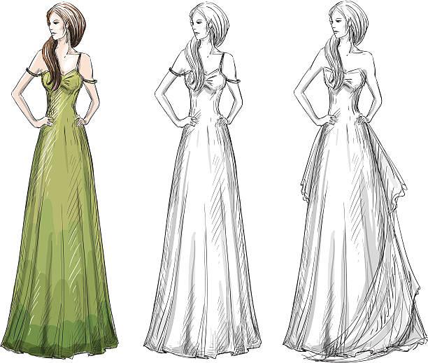 mode hand gezeichnete illustrationen. vektor-skizze. langes kleid. - langhaarspitzen stock-grafiken, -clipart, -cartoons und -symbole