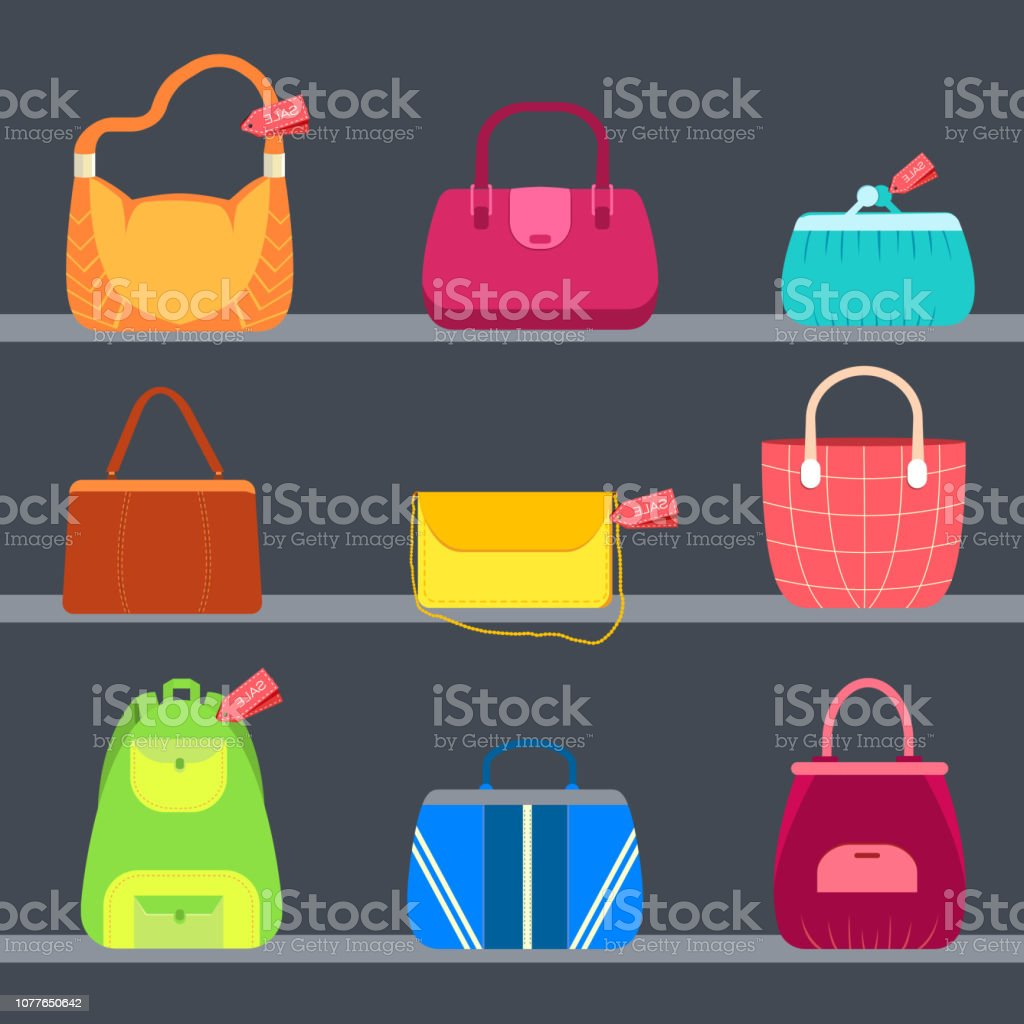 fashion handbags and bags in flat illustration concept icons set. Template for website and mobile appliance