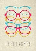 Fashion hipster glasses concept color design