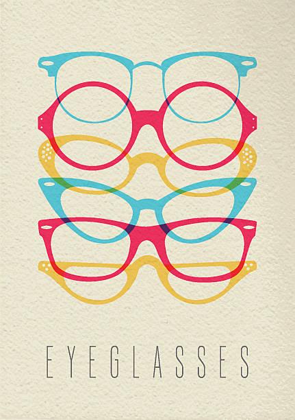 패션 지역으로 1930년대 글라스잔 컨셉입니다 백색과 디자인식 - 안경 stock illustrations