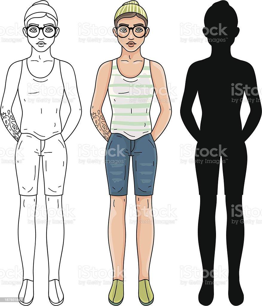 Fashion hipster man vector art illustration