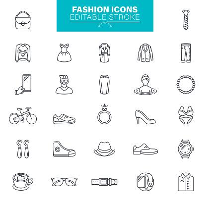 Fashion Icons Editable Stroke