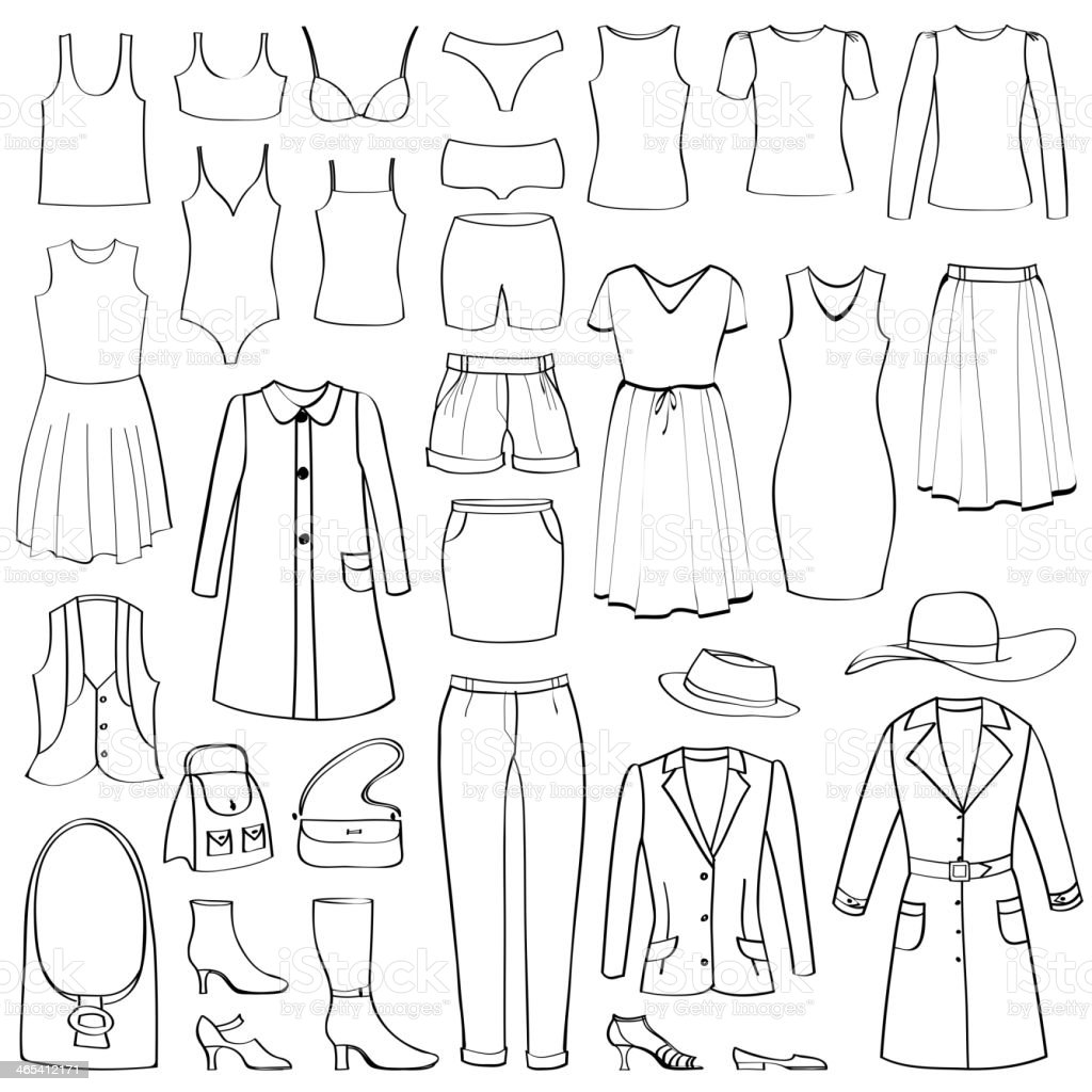 Mode-Ikonen-set. Weibliche Tuch Kollektion. – Vektorgrafik