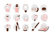 Skin care products icons set. Line style vector illustration isolated on white background.