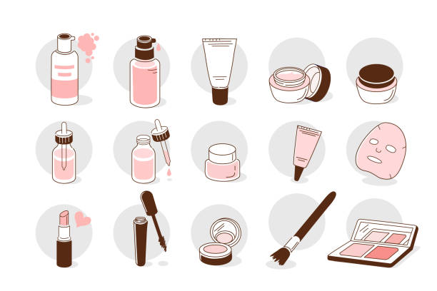 stockillustraties, clipart, cartoons en iconen met mode-iconen - skincare