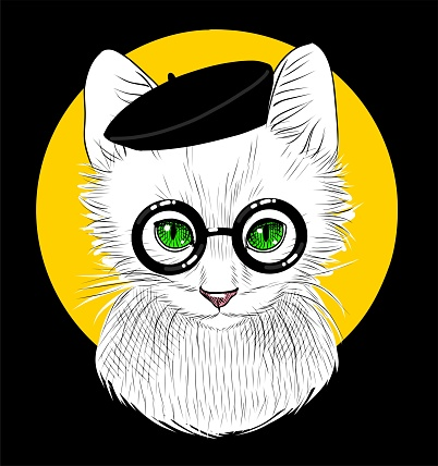 Fashion illustration. A white cat in a black beret and black round glasses. On black background. Sketch by hand