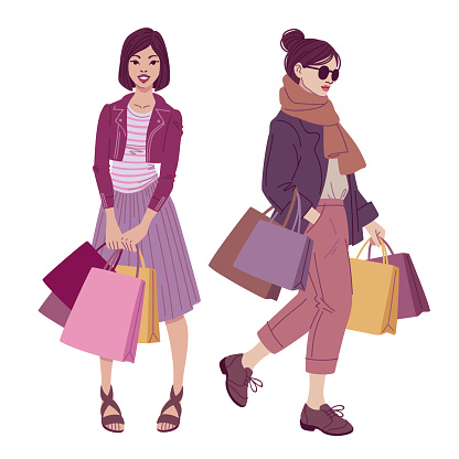 Fashion illustration. Beautiful women with shopping bags wearing trendy street style outfits.