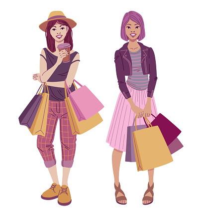 Fashion illustration. Fashionable hipster girls with shopping bags wearing trendy street style outfits.