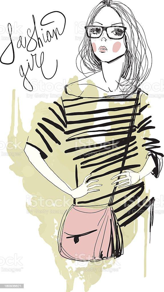ファッション女性のイラストレーション ベクターアートイラスト