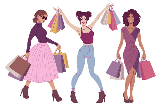 Fashion illustration. Happy shoppers women with shopping bags wearing fancy and elegant outfits.