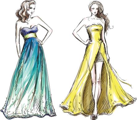 Fashion illustration. Long dress. Catwalk.
