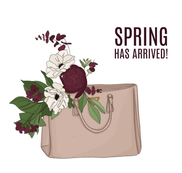 fashion illustration: luxury bag full of flowers. beautiful floral composition, spring text. quote beauty art with modern bouquet. greeting card, anniversary, web, magazine print. - spring fashion stock illustrations, clip art, cartoons, & icons