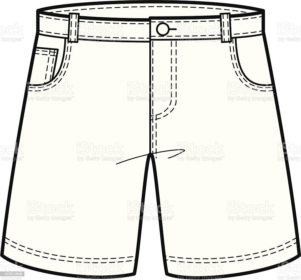 fashion illustration of a denim shorts stock vector art
