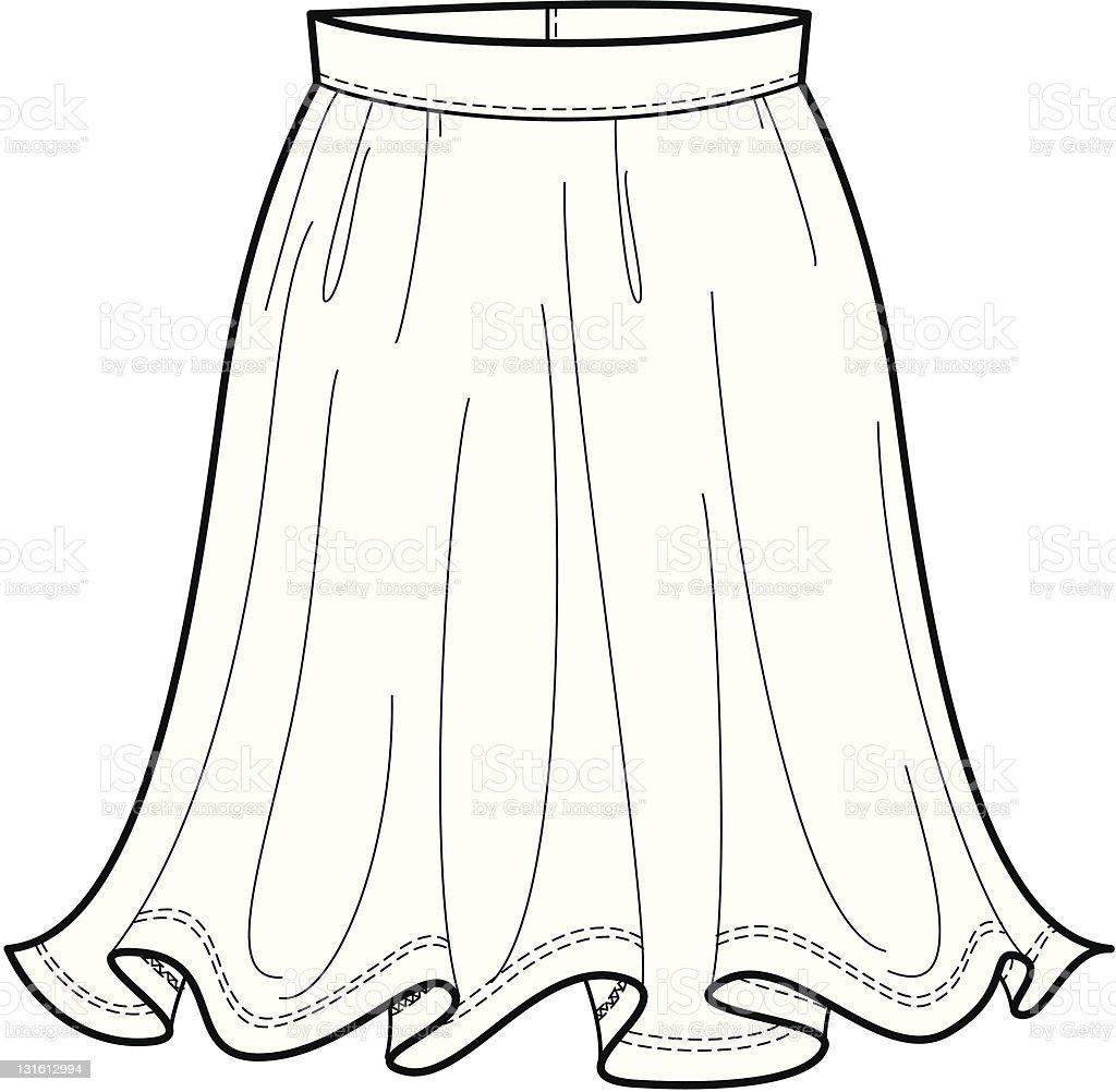 ファッションのイラストが流れるようなスカート イラストレーションの