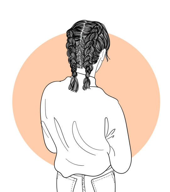 Fashion illustration of a girl with a braid hairstyle and standing on her back.Doodle art concept,illustration painting vector art illustration