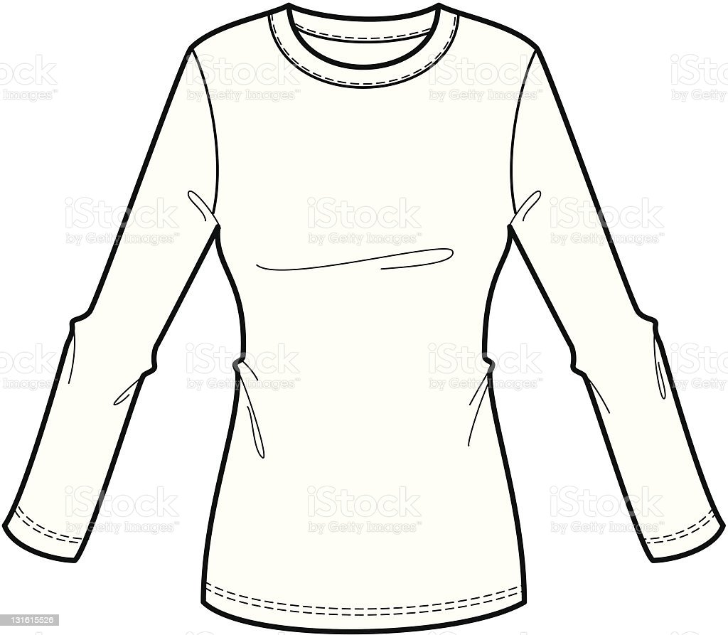 Fashion Illustration of a long sleeve ladies tee shirt royalty-free fashion illustration of a long sleeve ladies tee shirt stock vector art & more images of adult