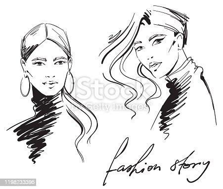 fashion illustration. portrait of  women wearing turtleneck