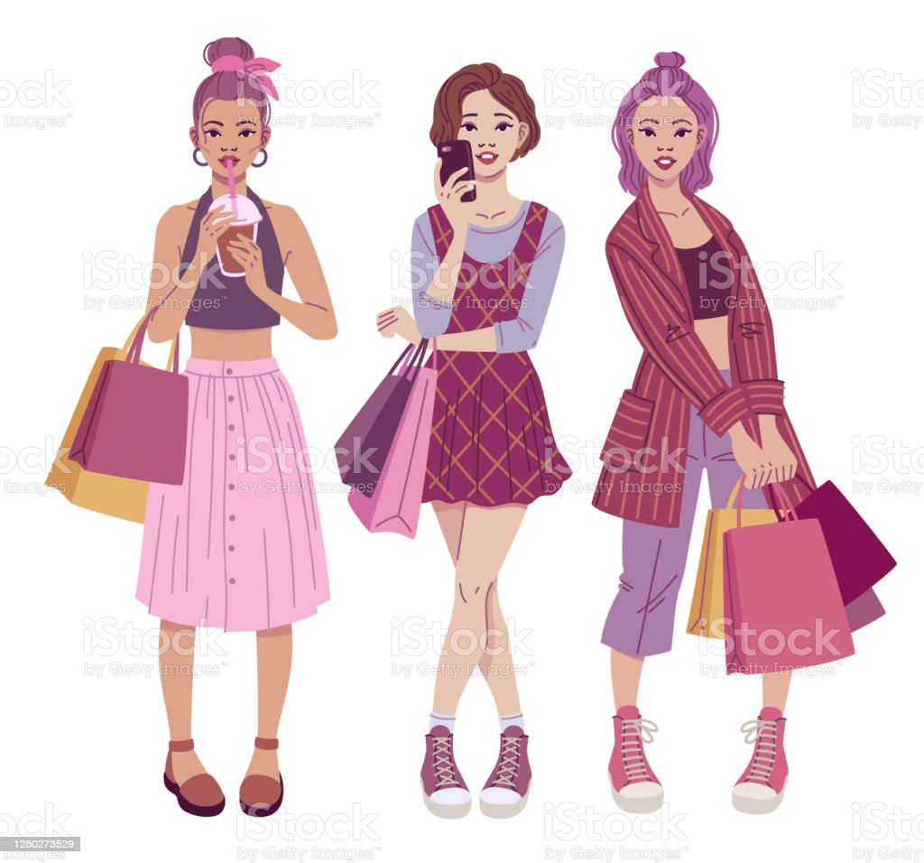 Fashion Illustration Trendy Teenage Girls With Shopping Bags Wearing Casual Street Style Outfits Stock Download Image Now Istock
