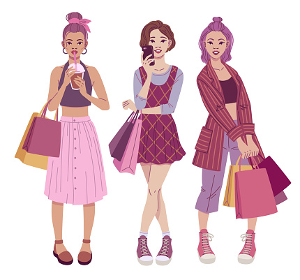 Fashion illustration. Trendy teenage girls with shopping bags wearing casual street style outfits.