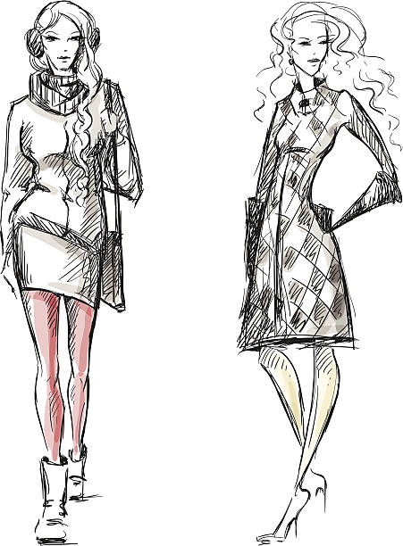 fashion illustration winter style sketch - winter fashion stock illustrations, clip art, cartoons, & icons
