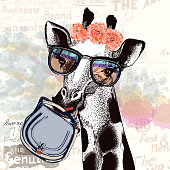 Fashion illustration with giraffe in hipster glasses holding female bag
