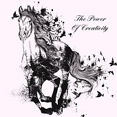 Fashion illustration with hand drawn detailed running horse from