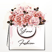 Fashion illustration with pink  roses and shopping pack