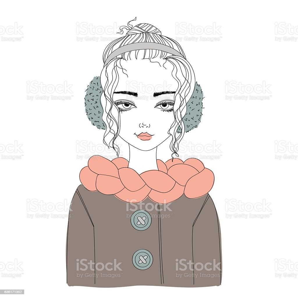 fashion illustration with young pretty girl wearing warm winter clothes ベクターアートイラスト