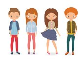 Fashion kids. Cartoon vector illustration