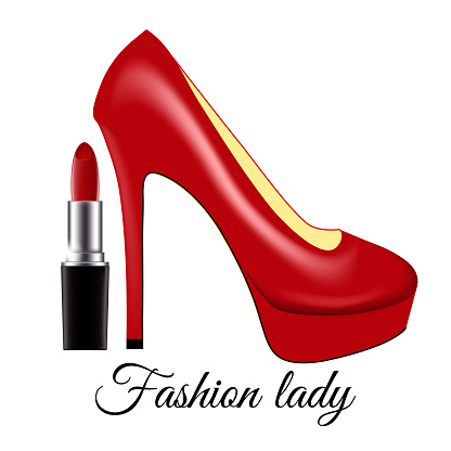 Fashion Lady Red Lacquered Shoes On High Heels And Lipstick