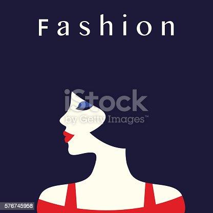 Fashion lady retro style. Beautiful woman. Vector illustration