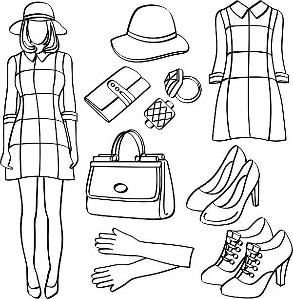 Fashion Lady with Clothing and Accessories Fashion lady with different kinds of clothing and accessories. It contains hi-res JPG, PDF and Illustrator 9 files. formal glove stock illustrations