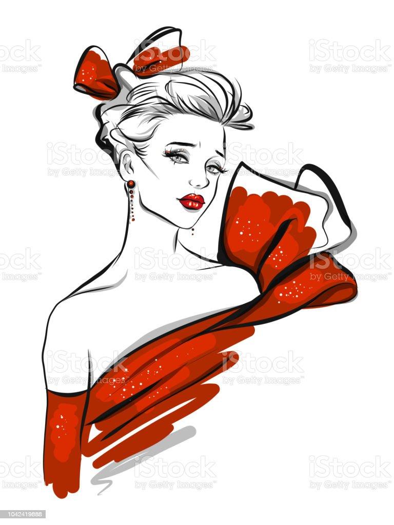 Fashion line art  illustration vector art illustration