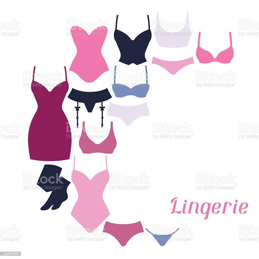 95962fee8a Moda mujer en lencería diseño de fondo con ropa interior. ilustración de  moda mujer en
