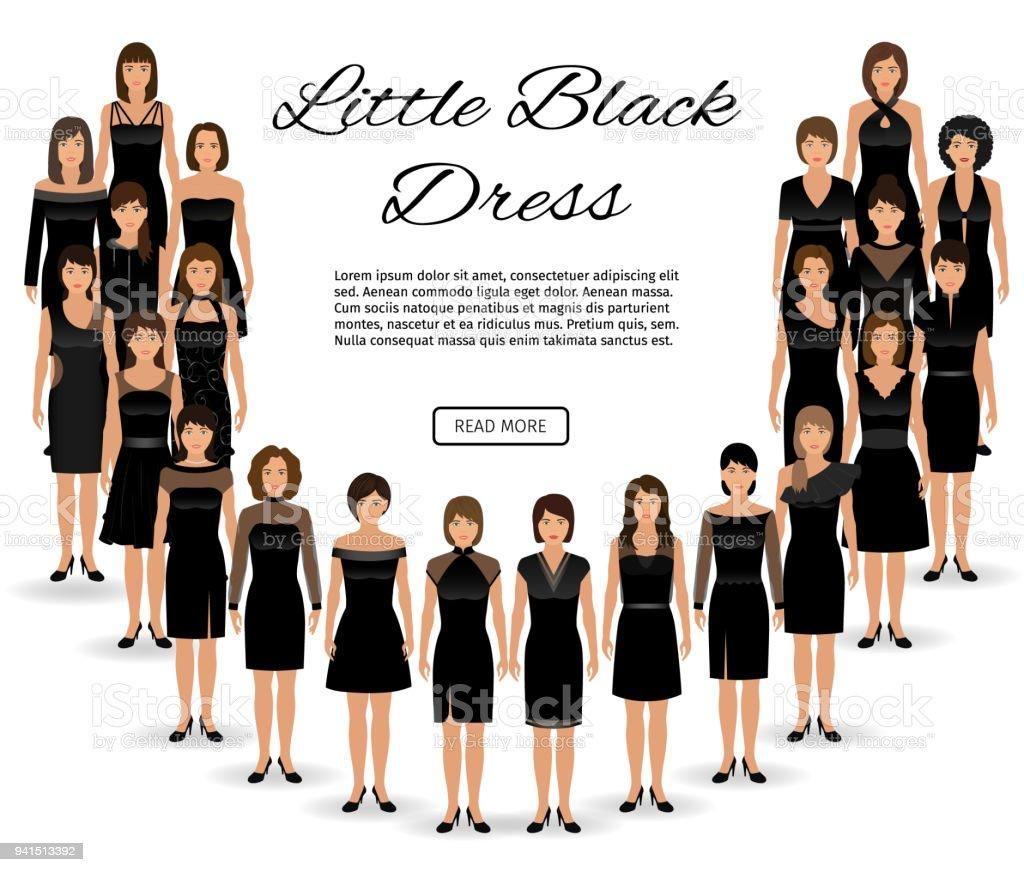 Mode Die Kleine Schwarze Kleider Gruppe Von Frauen Gekleidet In ...