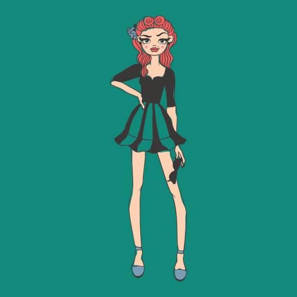 Moda look chica chica hermosa mujer mujer muy joven modelo estilo lady carácter vector ilustración - ilustración de arte vectorial