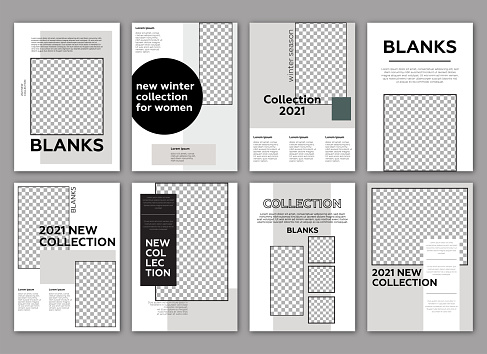 Fashion lookbook template. Poster, flyer,  brochure geometric shapes layout.