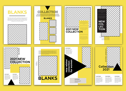 Fashion lookbook template. Poster, flyer,  brochure geometric shapes layout. Yellow background.