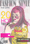 Fashion magazine cover design template