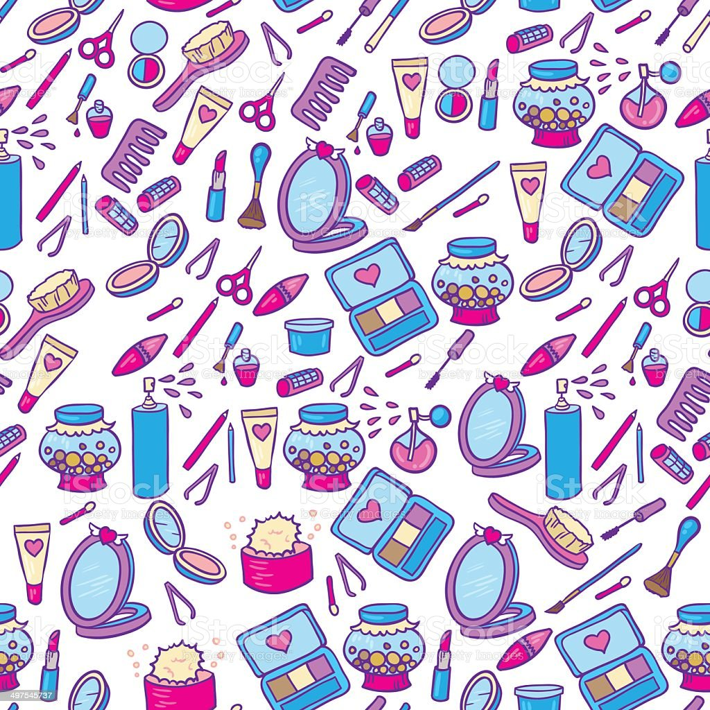 Fashion makeup pattern vector art illustration