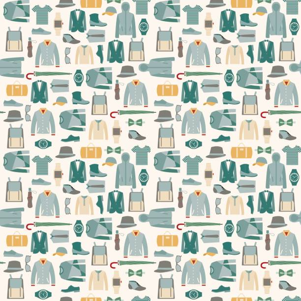 fashion man cloth and accessories - illustration - mens fashion stock illustrations, clip art, cartoons, & icons