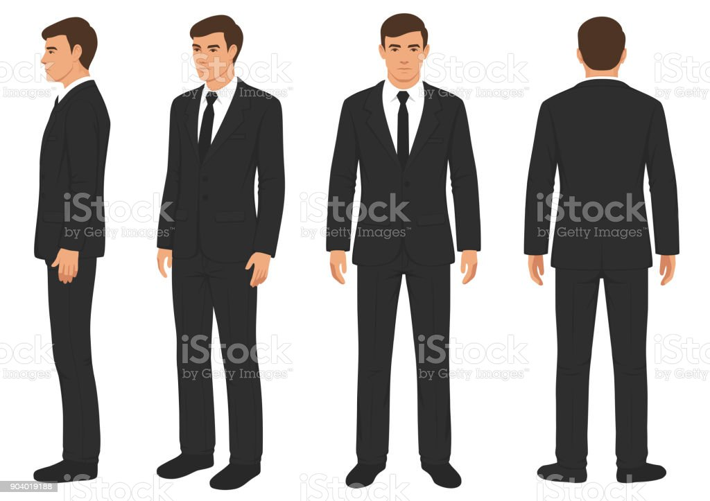 fashion man isolated, front, back and side view, - arte vettoriale royalty-free di Abbigliamento