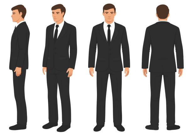 ilustrações, clipart, desenhos animados e ícones de moda homem isolado, à frente, atrás e vista, lateral - business man